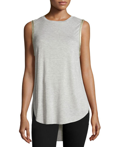 Embellished High-Low Tank, Light Heather Gray