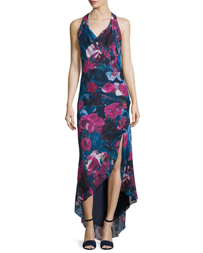 Silk Sleeveless Cowl-Neck Dress, Printed