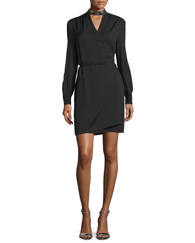 Long-Sleeve Embellished Wrap Dress, Black