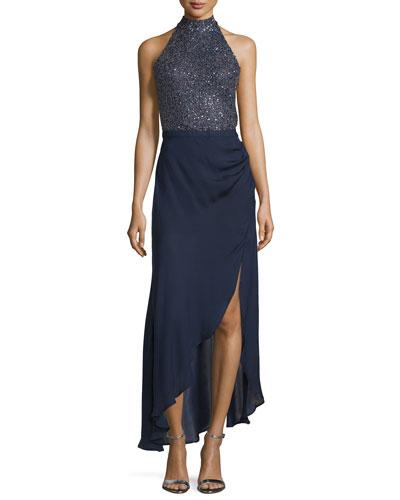 Embellished Halter-Neck Gown, Midnight