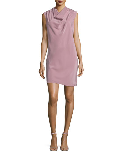 Cowl-Neck Cap-Sleeve Silk Shift Dress, Pink