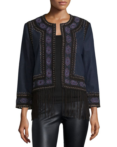 Wool Lacing Embellished Coat, Midnight Blue