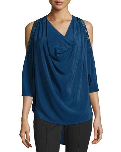 Cold-Shoulder Embellished Silk Blouse, Blue
