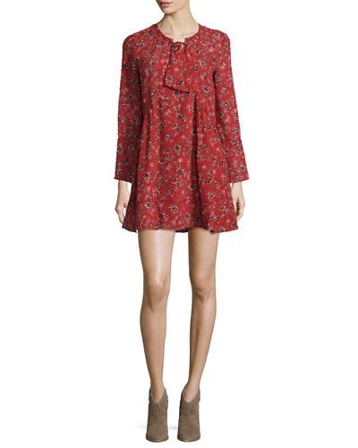 Gavras Floral Long-Sleeve Minidress