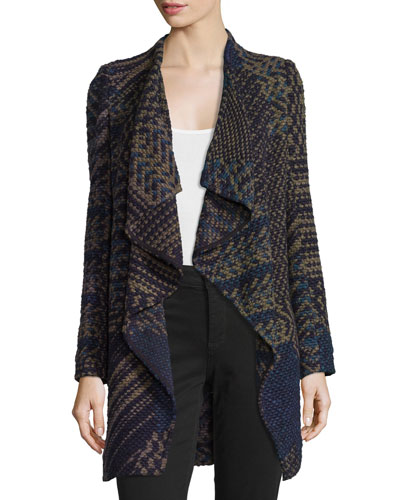 Icare Woven Open-Front Coat, Khaki