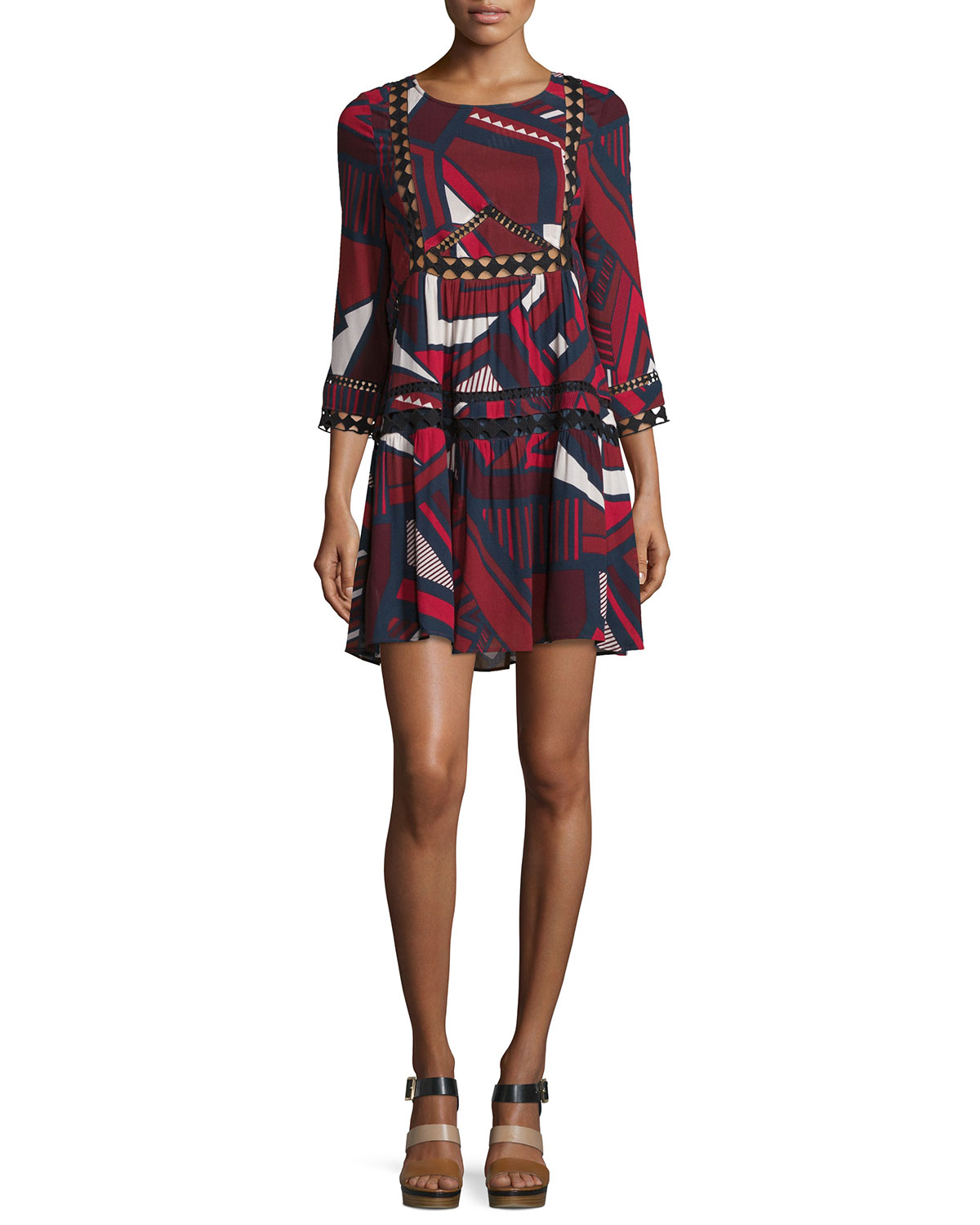 Jane Abstract-Print Lace-Trim Dress