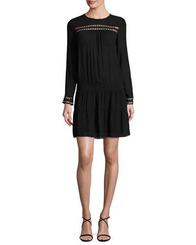 Jolie Long-Sleeve Dropped-Waist Dress, Noir