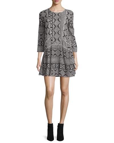 Mara Geometric-Print 3/4-Sleeve Dress