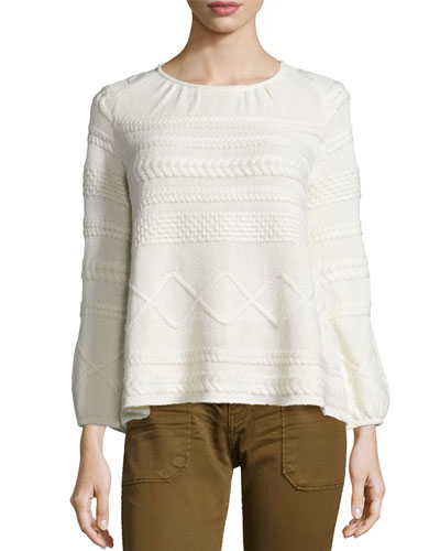 Moody Pullover Mixed-Knit Sweater