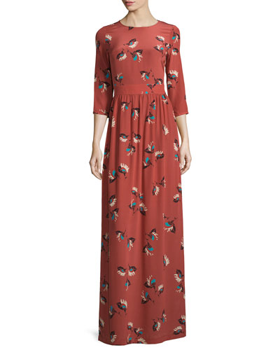 Preppy Floral-Print Silk Maxi Dress
