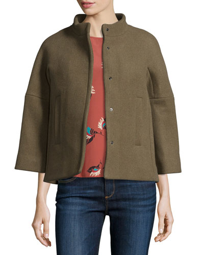 Tobias Short 3/4-Sleeve Wool-Blend Coat