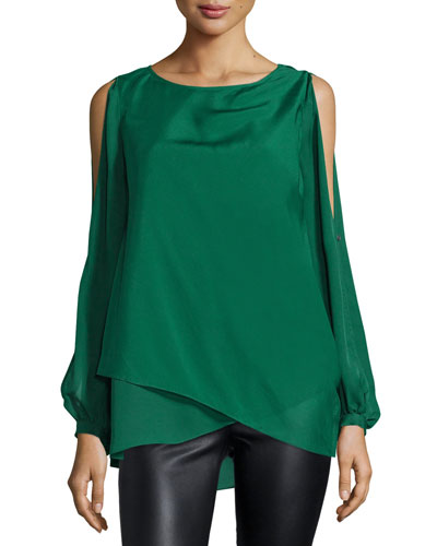 Long Sleeve Chiffon Overlay Silk Blouse, Green