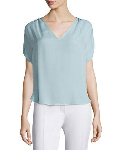 V-Neck Short-Sleeve Silk Blouse, Baby Blue