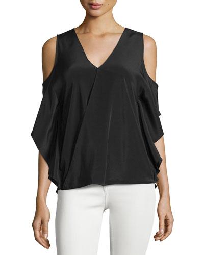 Azalea Cold-Shoulder Silk Top, Black