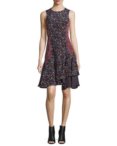 Sleeveless Floral Silk Tank Dress, Midnight/Multicolor