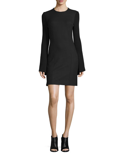 Ribbed-Sleeve Crepe Sheath Dress, Black