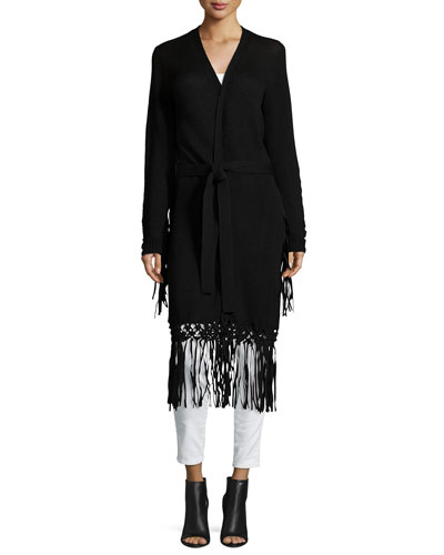 Long Belted Cardigan With Fringe, Black