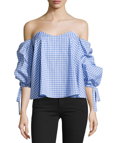 Gabriella Off-The-Shoulder Gingham Bustier Top