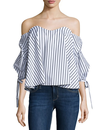 Gabriella Off-The-Shoulder Striped Bustier Top