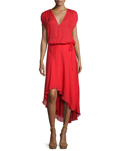 Drawstring High-Low Silk Dress