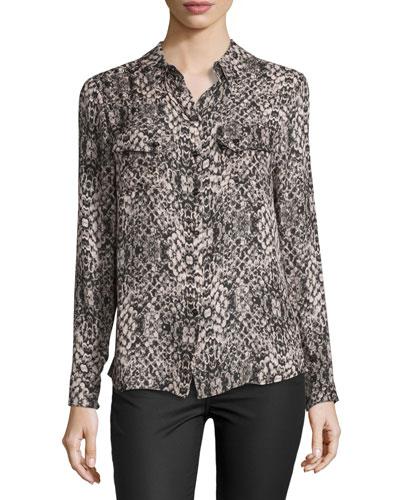 Snakeskin-Print Long-Sleeve Silk Blouse