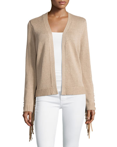 Long Sleeve Fringe Trim Cardigan, Nude