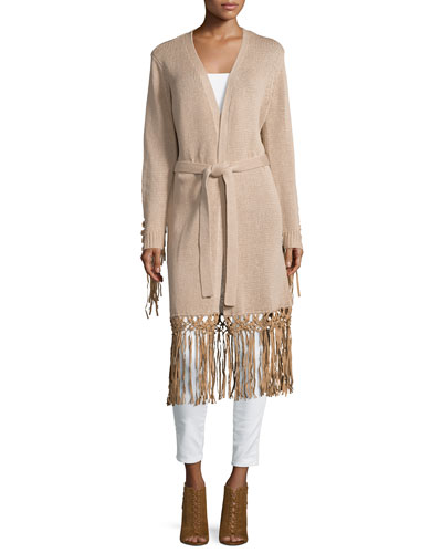 Haute Hippie Long Belted Cardigan, Nude