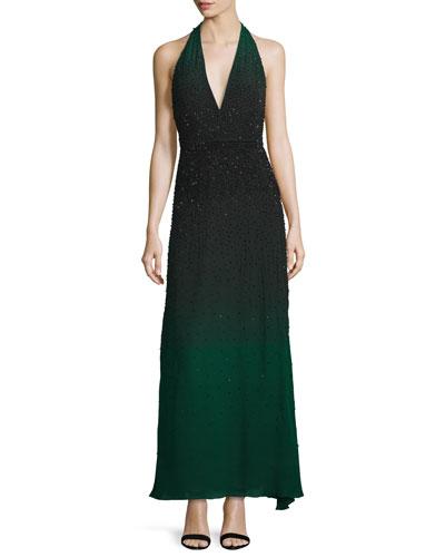 Ombre Embellished Halter-Neck Gown