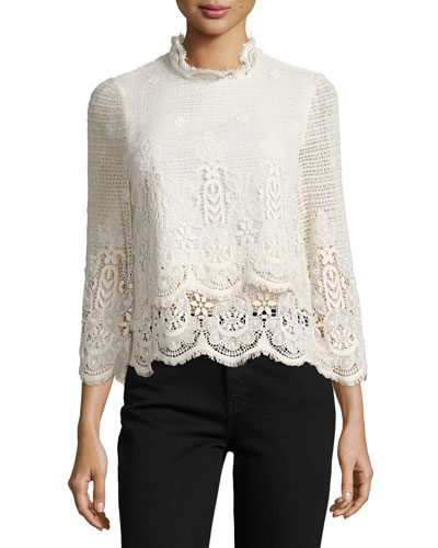 Esbaran Scalloped Lace Top, Ivory