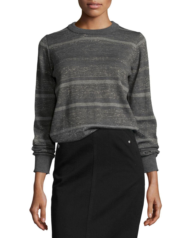 Falls Metallic Striped Sweater, Charcoal/Gold