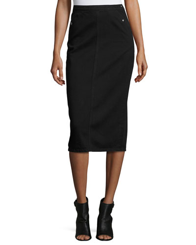 Sullivan Denim Pencil Skirt, Black