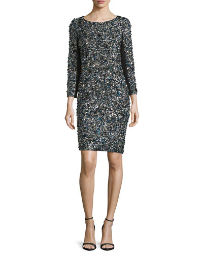 3/4-Sleeve Mosaic Sequin Dress
