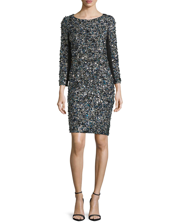 3/4-Sleeve Mosaic Sequin Dress
