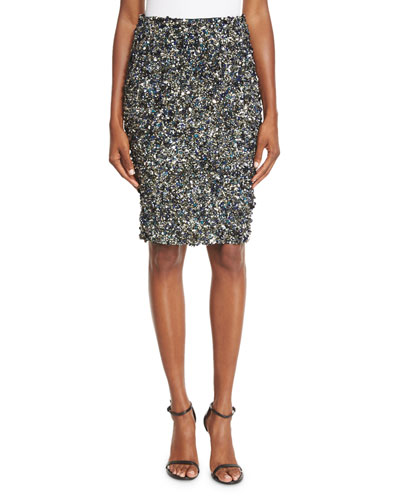 Mosaic Sequin-Embellished High-Waist Skirt, Multi