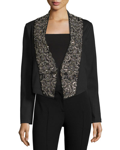 Embellished-Lapel Ponte Jacket