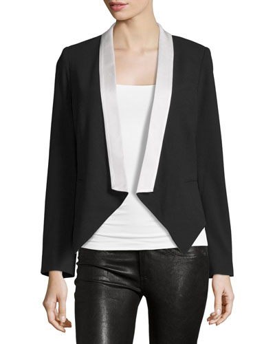 Colorblock Open-Front Blazer, Black/White