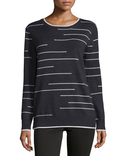 Long-Sleeve Pullover Sweater, Gray/Ivory