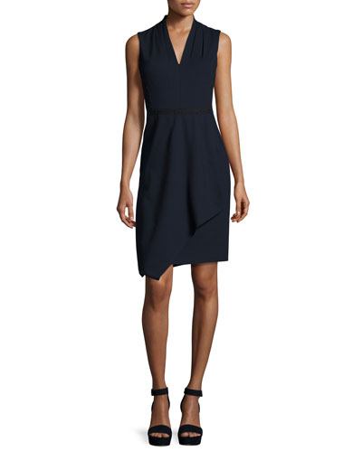 Jae Sleeveless Faux-Wrap Dress, Navy