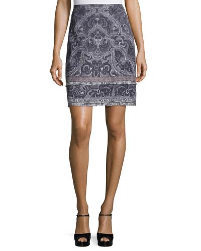 Hunter Printed Slim Skirt, Black Multi