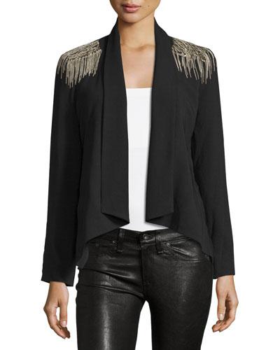 Drape Front Blazer with Shoulder Embellishments