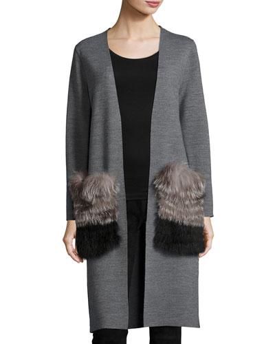 Demi Long Open Sweater w/ Fox Fur Pockets, Gray