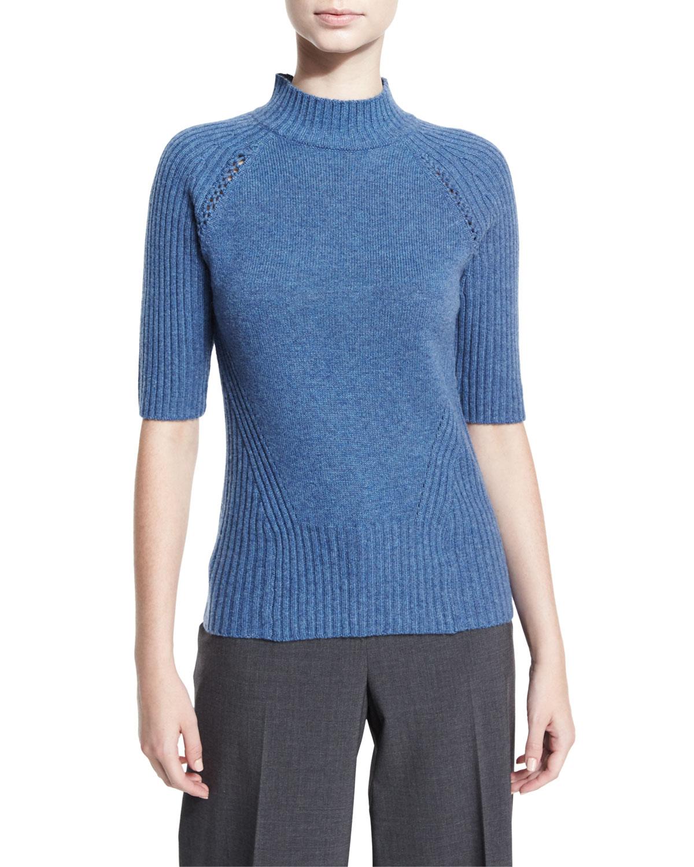 Macie Half-Sleeve Mock-Neck Cashmere Sweater, Blue Multi