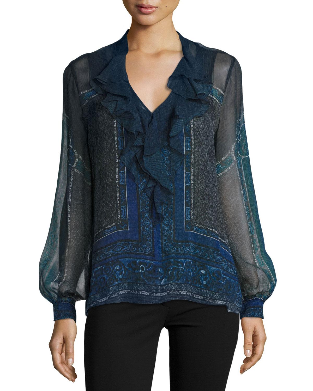 Zaida Long-Sleeve Ruffled Silk Blouse, Ink Multi