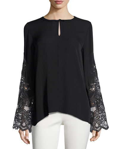 Weslee Long-Sleeve Embroidered Silk Blouse, Black