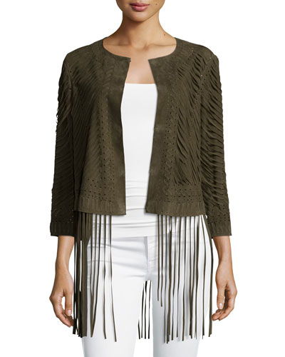 Laser-Cut Suede Jacket With Fringe Trim, Green