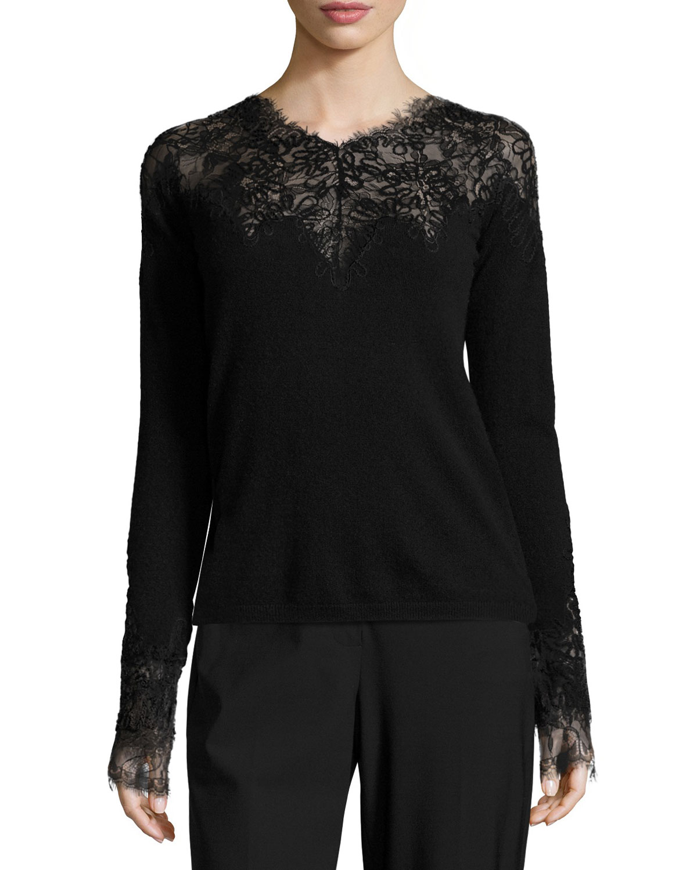 Nella V-Neck Lace-Yoke Cashmere Sweater, Black