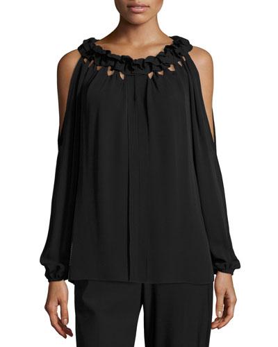 Kayla Ruffled Jewel-Neck Cold-Shoulder Silk Blouse, Black