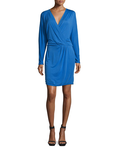 Ruche-Side Mini Dress, Cobalt