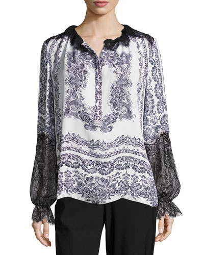 Myrina Lace-Trimmed Printed Silk Blouse, White Multi
