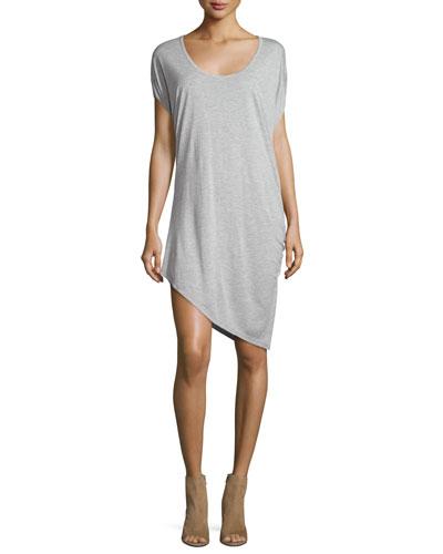 Asymmetric-Hem Jersey Dress, Light Gray
